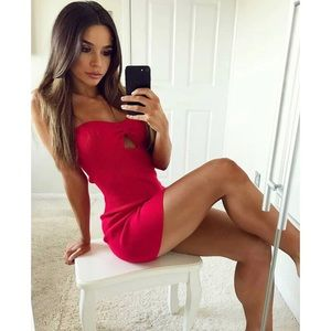 Red Strapless Sweetheart Cutout Bodycon Dress